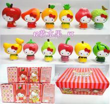 Free Shipping Hello Kitty Toys Kitty Cat Fruit Style PVC Action Figure Model Toys Dolls 12pcs/set Christmas Gifts KTFG010