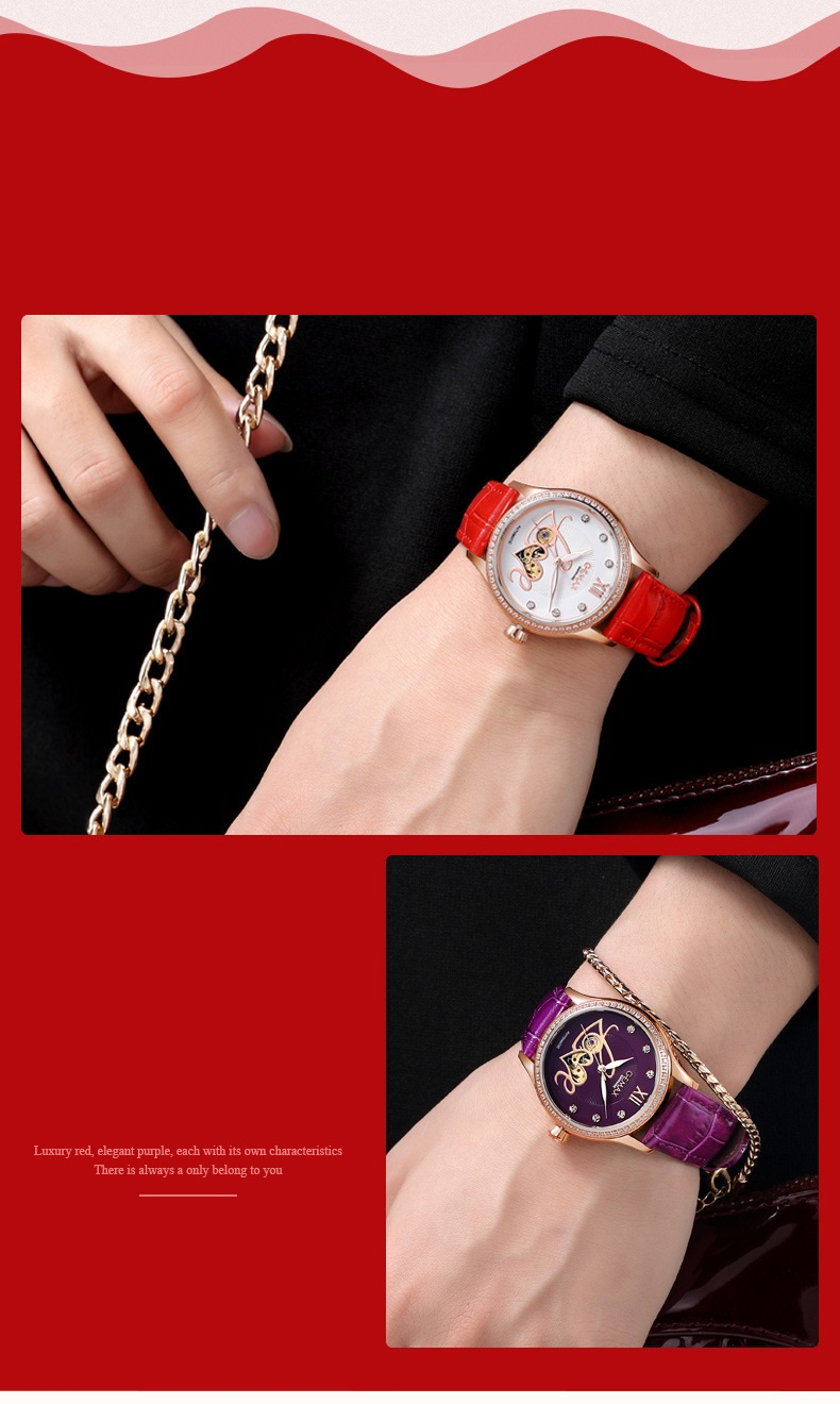 GUANQIN Watch Women Luxury Automatic Watches LOVE Shape MIYOTA Mechanical Movement Purple Sapphire 50 m Waterproof Leather Clock (8)