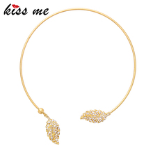KISS ME Gold Color Copper Torques Wholesale Inlay Rhinestone Leaves Women Necklace Luxury Jewelry