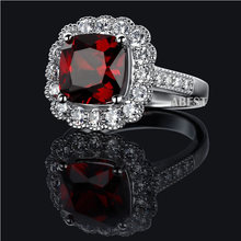 AINUOSHI Luxury Wedding Ring 5.5 Carat Big Cushion Cut Engagement Ring Women Red Zircon 925 Sterling Silver Promise Bridal Ring