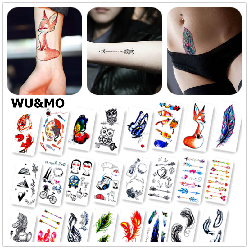 Colorful Butterfly Fox Feather Body Art Sexy Harajuku Waterproof Temporary Tattoo For Man Woman Henna Fake Flash Tattoo Stickers 10