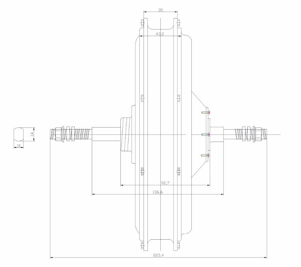 500W,750W,1000W Rear Motor Drawing-1