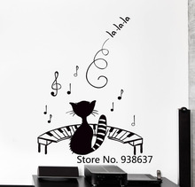 Funny Pet Wall Stickers Black Cat Kitty Music Piano Notes Big Modern Decor Mural Nontoxic Pvc Material Decals For Wall ZB022(China)