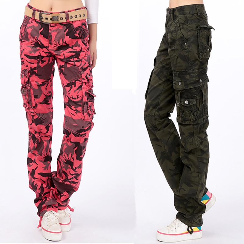 2017 Plus Size Women Loose Multi Pocket Print Camouflage Army Military Cargo Pants Casual Hip Hop Straight Trousers In Capris From S
