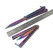Blunt Train mariposa Knife Butterfly Trainer balisong Fold rainbow Practice(China)
