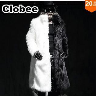 Luxury Winter Men Long Faux Fur Coat 2017 Warm Thick Fox Fur Jacket Plue Size XXXL 4XL White Black Parka Coat Windbreaker Robe B