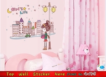 3 Style Beauty Dream Wall Sticker Cartoon Girl'S Life Night City Sky Wall Decals Home Decorations Plane Wall Sticker Mural Art(China)
