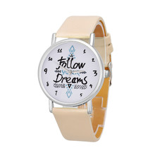 Gofuly NEW Follow Dreams Printed Casual Watch Women Fashion Leather Young Sports Women Gold Quartz Watch Dress Wristwatches