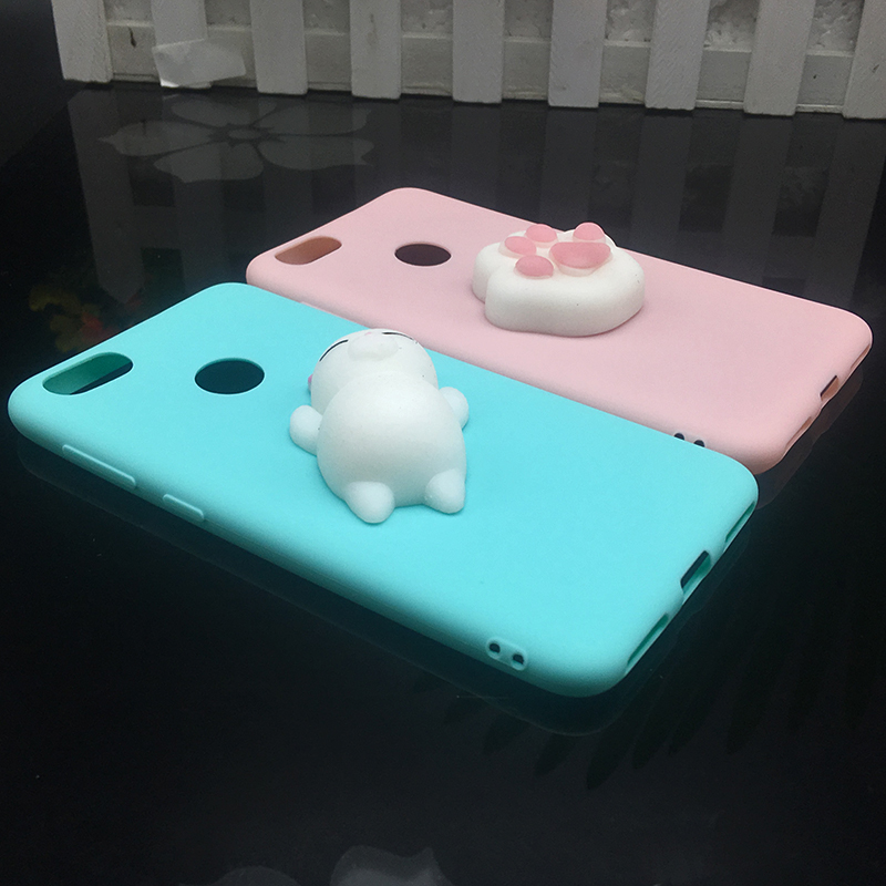 3d Squishy Cat Silicon TPU Soft Cases For Huawei P20 lite P20 pro P9 lite mini 2017 Candy Color Back Cover Honor 8 lite P10 plus (2)