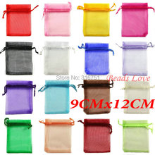 100pcs Mix Jewelry Packing Drawable Organza Bags Wedding 9cmx12cm AA(W03208)