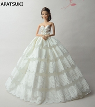 White 1/6 Doll Clothes For Barbie Doll Evening Gown Wedding Dress For Barbie Dollhouse 1:6 Miniature Doll Accessories(China)