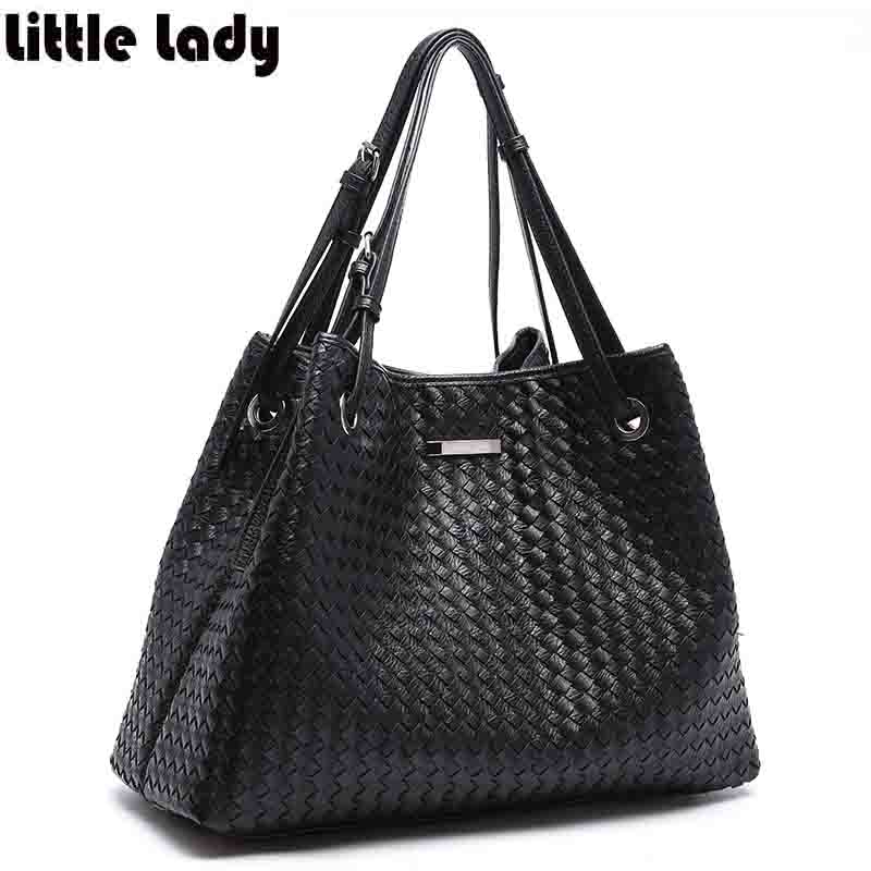 Womens Weave Handbag Soft Imitation Leather Large Tote Shopping Bag for Woman Ladies Casual Work Shoulder Bag Purse Black Bolsa<br>