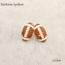 fashion lychee 1 Pair Cute Colorful Rhinestone Red White Color Rugby Shape Ear Stud Earrings Sports Jewelry For Party Wedding(China)