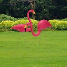 2pcs Pink Flamingos Plastic and Metal Models For Yard Garden Lawn Art Ornaments Retro Decoration Stakes Party Decoration Models