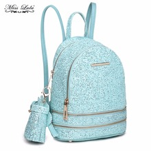 Miss Lulu Women PU Leather Bling Studs Sequins Backpacks Girls School Bags Blue Small Princess Shoulder Bag Rucksack LT1763(China)