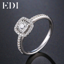 EDI Classic Halo 0.34cttw Real Natural Diamond Rings 14k 585 White Gold Wedding Bands Jewelry For Women(China)