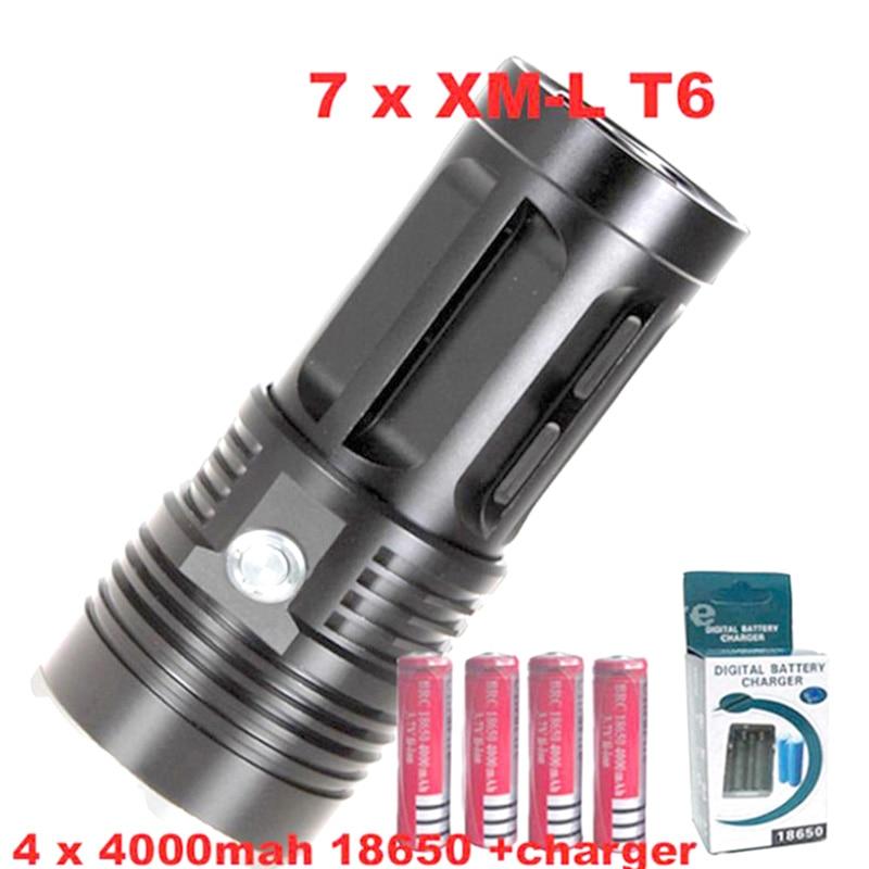 7T6 LED 7x XM-L XML t6 LED Flashlight Torch 7-T6 flashlight  Lamp Light+ 4 * 18650 battery +charger<br>
