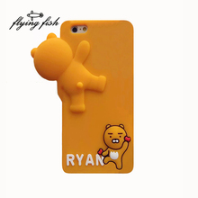For iphone 6 6s 7 plus 3D Fashion Cute cartoon animals bear big head soft silicone cell phones case for iphone7 6s 6plus