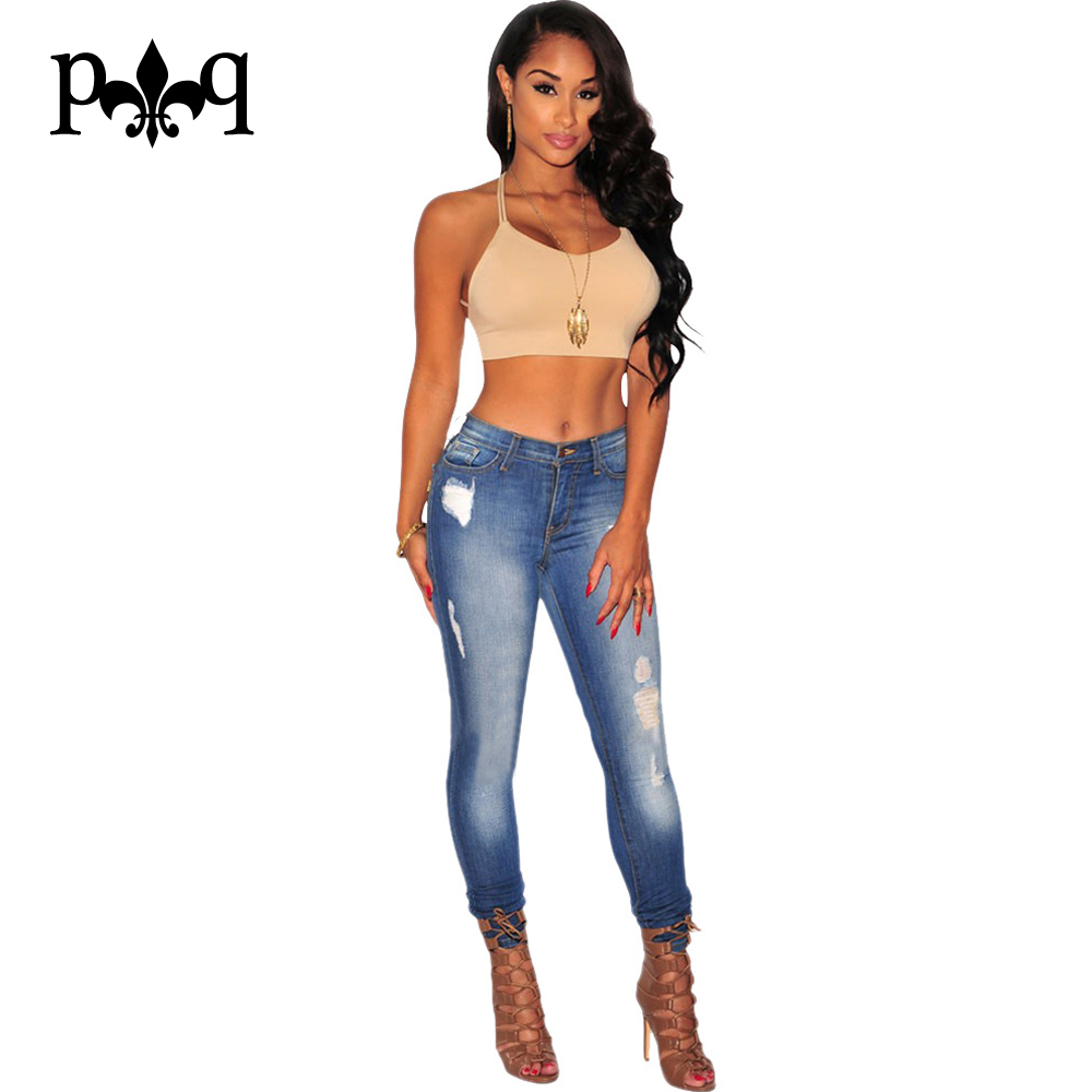 New Fashion Ripped Jeans For Women Vintage Skinny Denim Jean Femme Casual Mid Waist Light Wash Plus Size Pants Autumn Одежда и ак�е��уары<br><br><br>Aliexpress