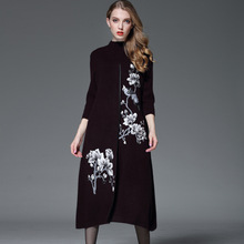 Robe Vestidos De Fiesta Autumn And New High-end Women's Heavy Industry, Embroidery, Fox Hair, Nine Point Sleeve, Knitted Dress