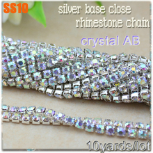 10Yards/lot  SS10 (2.8mm) silver base shiny crystal AB rhinestone chains