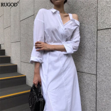 Buy Rugod 2018 Korean Style White Dress Femme Slim Tunic One Shoulder Shirt Dress Women Causal Sexy Cotton Maxi Dress Vestidos for $16.08 in AliExpress store