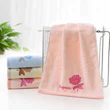 76cmX 34cm High Quality Embroidery Rose Flower Print Face Towel Cotton Body Cloth Towels Quick Absorbent Towel(China)