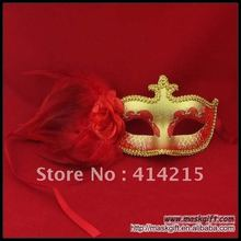 Hot Wholesale Venetian Unique Style Red Gold Feather Masquerade Party Carnival Mask