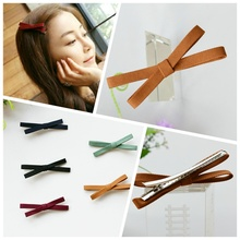 Korean Cloth Fabric Cross Bow Duckbill Hair Clip Trinkets Hairpin for Girls Women Hello Kitty Hair Accessories Hairpins 4/L