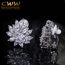 CWWZircons New Designer Flower Shape Stunning Cubic Zirconia Crystal Women Ear Clip on Earrings Without Piercing CZ196(China)
