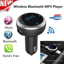 1PC Universal Car Kit MP3 Music Player Wireless Bluetooth FM Transmitter Radio With 2 USB Port Car Accessories Free Shipping