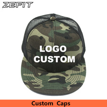 Custom Camo Snapback  Trucker Caps Free 3D Embroidery Printed Logo Black Mesh Hat Flat Bill Adjustable Personalize Baseball Cap