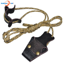 Archery Supply Bowstring Install Tool Rope Recurve Longbow Stringer for Put on Bow String with Nylon and Cow Leather Material