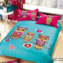 2015 Fashion Cartoon Parent-child Pattern Giraffe Owl Frog Leopard Bedding Set Queen Size,Bright Color Family Sheets Duvet Cover(China)