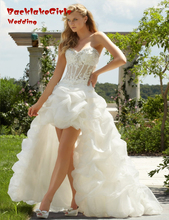 Puffy 2016 Luxurious Croset Bodice Beaded Sweetheart Short Front Long Back Wedding Dress Organza cheap-clothes-china