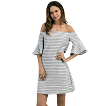 Sexy Striped Off Shoulder Mini Dress Women Backless Cut Out Half Flare Sleeve Summer Dress 2017 Elegant Casual Party Dress Grey