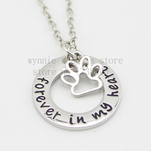 "2015 new arrive Pet Memorial Jewelry  Pet Loss Gift ""Forever in my Heart"" Dog Remembrance Necklace In Memory of Dog"