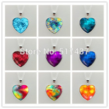 New Glass Dome Necklace Blue/Rainbow/Colorful/Purple/Red heart necklace Art Photo Glass Pendant silver heart shaped necklaces
