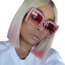 Luxury Brand Women Crystal Stone Square Sunglasses Big Frame Pink Oversized Eye Sun Glases Diamonds Pink vintage oculos de sol(China)