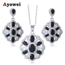 Black Friday Black & White Silver Stamped Super Supplier Black Onyx Fashion Jewelry Sets Earrings Necklace JS656A