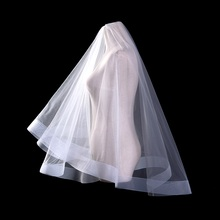 Cheap Charming White/Ivory One Layer Dream Tulle Bridal Veil Wedding Accessories Fanovias Romantic Bridal Wedding Veil V1