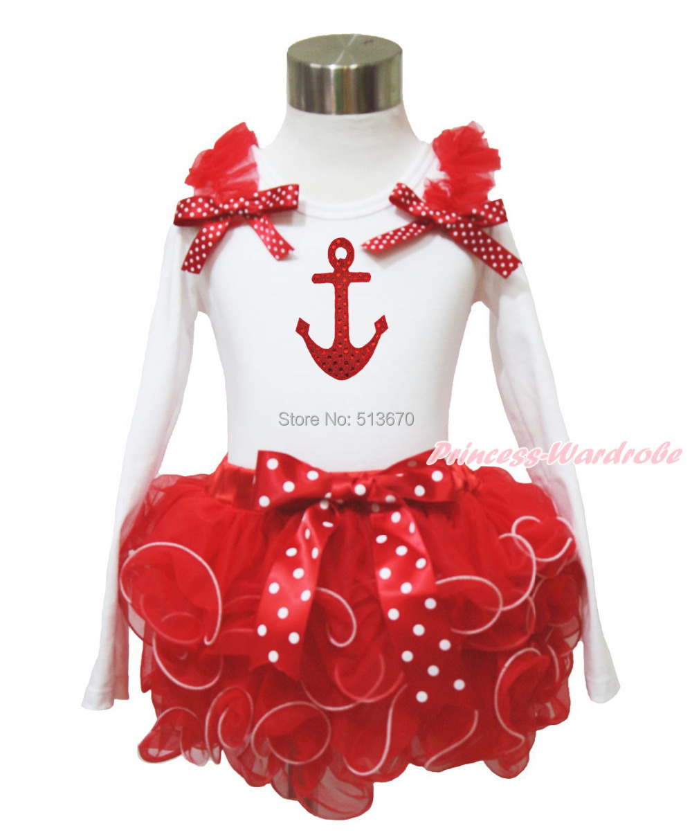 Bling Anchor Print Red Ruffle Red White Dot Bow White Top Baby Girl Red Petal Pettiskirt Outfit Set NB-8Y MAPSA0086<br><br>Aliexpress
