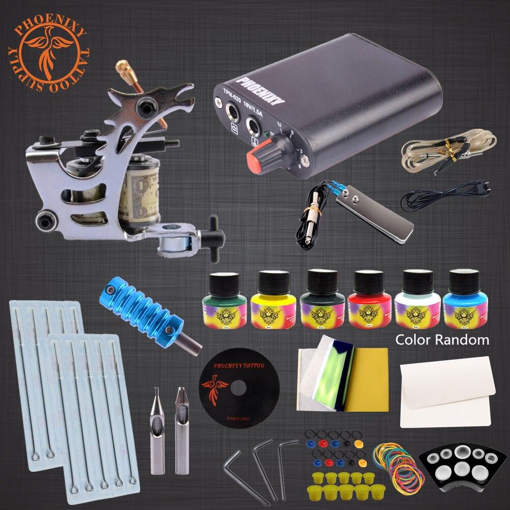 Beginner Tattoo Kit 1 Tattoo Machines 6 Colors Ink Set Power Supply Box Body Art Supplies Needles Tips Tutorial video Tattoo Kit<br>