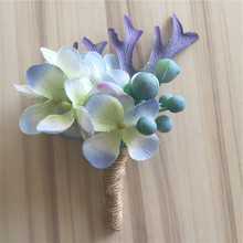 New Bride Groom Boutonniere Artificial Hydrangea Pip Berry Plant Corsage Flower Wedding Church Decor Purple 3 Color BW008