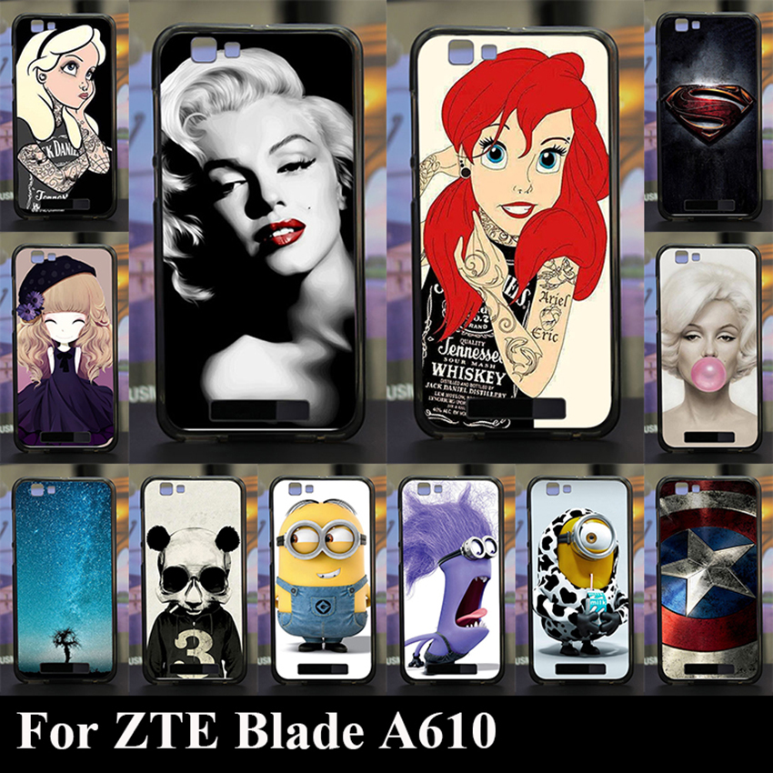For ZTE Blade A610 Soft Silicone tpu Plastic Mobile Phone Cover Case Color Paitn Painting Cellphone Bag Shell Free Shipping(China (Mainland))