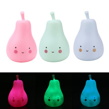 Candy Color Pear Shaped Light Children Silicone Light-Up Toys Kids Room Decorated Pear Night Light Lamp LR44 Battery Built-in
