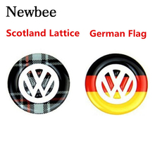 Newbee Car Styling Emblem Steering Wheel Sticker Germany Flag For VW Volkswagen Polo Tiguan Touran Passat B5\6\7 Golf 4 5 6 7(China)