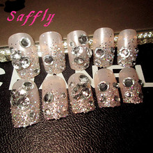Saffly 24 pcs Full Nail Tips Gradient nude False Nails with fashion pearl false nails with glue short sticker Design Full Cover