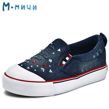 MMNUN 2017 New Spring Denim Girls Shoes with Crystal Breathable Canvas Kids Shoes for Girl Cute Children Sneakers Children Shoes