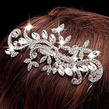 Bridal Wedding Crystal Rhinestone Diamante Leaf Flower Hair Comb Clip Tiara Headwear Silver Formal New